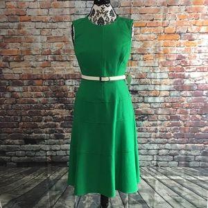 Anne Klein Jade Green Belted A-line Dress  Size 6